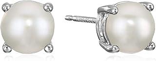 Amazon Collectionarete de tuerca de plata de ley con piedra preciosa redonda