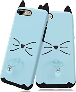 Feimeng Ring Cat Case for iPhone 7 Plus&8 Plus with Holder Stand Kickstand,Cute Whisker Cat Ears Shape Hybrid Protective Case(Slim PC+TPU Hard Case) Smooth Shockproof Protective Cover Case (Blue Cat)
