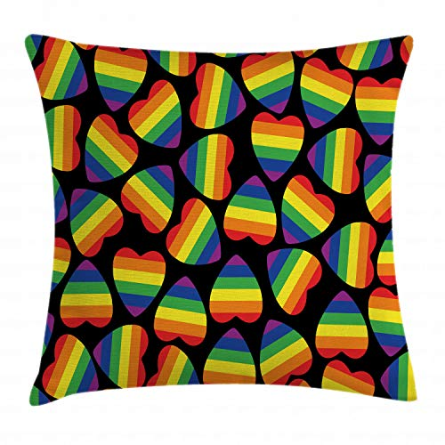 Ambesonne Pride Throw Pillow Cushion Cover, Rainbow Colored Striped Heart Shapes on Black Backdrop Gay Lesbian Love Parade Print, Decorative Square Accent Pillow Case, 16' X 16', Multicolor