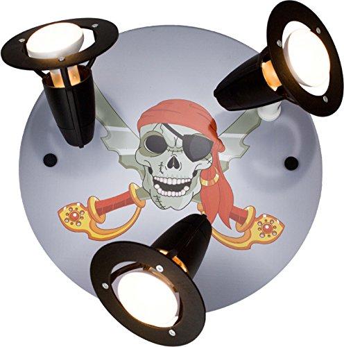 Elobra Kinderlampe Decke - Kinderzimmerlampe Jungen Pirat, Holz, schwarz, A++, 30 x 30 x 20 cm, 131466