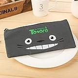 Lindo estuche de lápices de tela Kawaii encantador dibujo animado Totoro bolígrafos bolsas para niños regalo material escolar gris