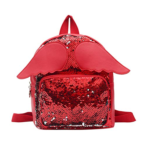 VECOLE Rucksäcke Damen Modischer vielseitiger lässiger Paillettenrucksack mit Flügeln Campus Studententasche Schulranzen Outdoor-Shopping Reiserucksack(rot)