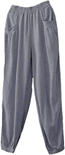 Minibee Women's Cotton Linen Tapered Cropped Pants Elastic Waist Trousers