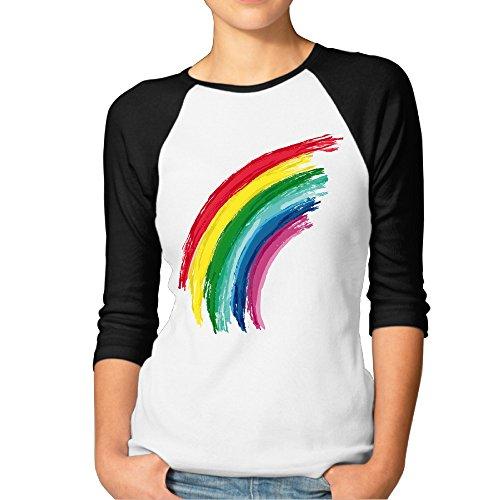 Las mujeres hermosas arco iris arc-en-ciel 3/4Raglan camisas camisetas de béisbol