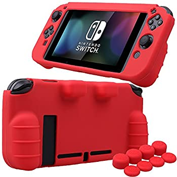 MXRC Silicone Rubber Cover Skin case Anti-Slip Hand Grip Customize for Nintendo Switch x 1 red  + Joycon Thumb Grips x 8