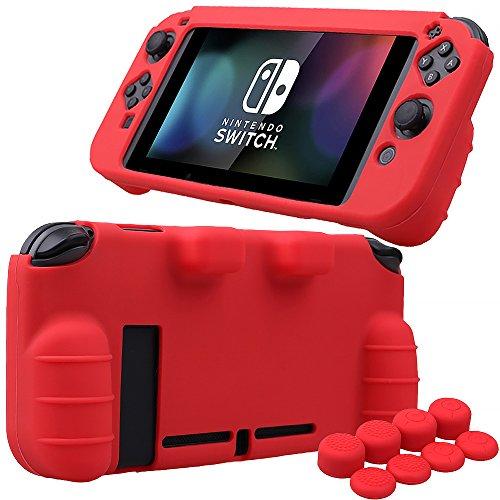 Pandaren® silicona Empuñadura Protector funda protectora para Nintendo Switch consola(rojo) + Joycon empuñaduras de pulgar thumb grips x 8