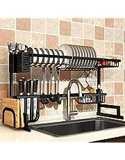 رف تجفيف الصحون فوق الحوض لمستلزمات المطبخ ومنظم الاواني من الستانلس ستيل, اسود, For Sink ≤ 33.5inch