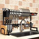 Over Sink(24'-40') Dish Drying Rack, 2 Cutlery Holders Drainer Shelf for Kitchen Supplies Storage Counter Organizer Stainless Steel Display- Kitchen Space Save Must Have (24≤Sink Size≤40inch, black)
