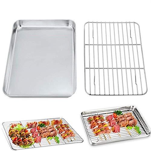 Plato de pizza rectangular de acero inoxidable, bandeja para hornear galletas, bandeja con estante de refrigeración, utensilios de cocina, sartén antiadherente para horno (color: M)