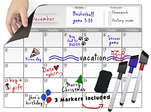Magnetic Refrigerator Board Dry Erase Calendar - Fridge Monthly Whiteboard Organizer 16''x12'' & 3 Colored Magnetic Markers & 1 Magnetic Eraser, Useful Smart Planner
