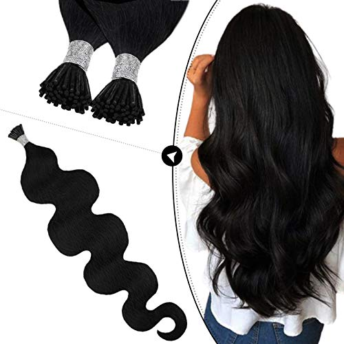 Ugeat I Tip Remy Human Hair Extensions 20inch Itip Hair Extensions Body Wave Jet Black #1 Pre Bonded Keratin Stick Tip Hair Extensions 50Strands 0.8g/Strand Wavy Hair Extensions