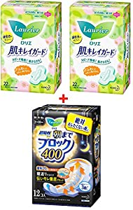 Kao Laurier Sanitary Pads Set - Sanitary Napkins Clean Skin Guard Day With Wings 205mm-22 Count X 2 Pack ( 44 Count ) & Speed+ Ultra-Absorbent Guard 400mm, Made In Japan