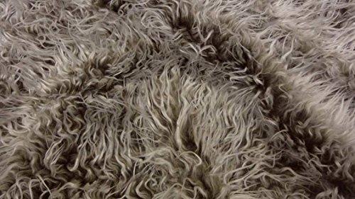 Fabrics-City DUNKELBRAUN/WEIß EXTREM LANG ZOTTELFELL ~MONGOLISCHER PELZSTOFF STOFF, 2981