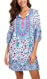 Women Bohemian Neck Tie Vintage Printed Ethnic Style Summer Shift Dress (2XL, Pattern 17)