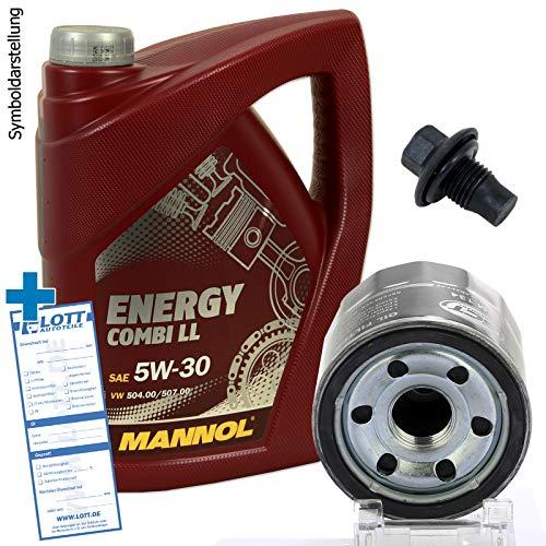 Ölwechsel Set Inspektion 5 Liter Mannol Energy Combi LL 5W-30 Motoröl + Ölfilter + Öl Ablassschraube Verschlussschraube
