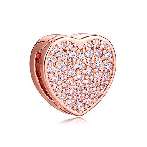 BAKCCI 2020 San Valentín regalo rosa reflexiones pavimenta corazón Clip Bead 925 plata DIY se adapta a pulseras originales Pandora Charm joyería de moda (oro rosa)