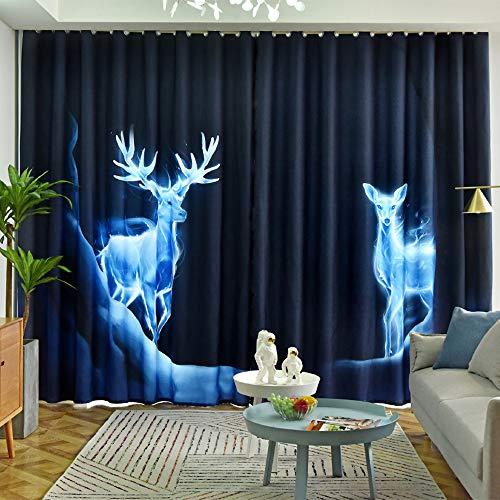JDK Verdunkelungsvorhänge Bedrucken und färben, dunkelblaue Vorhänge im Wohnzimmer - es Stehen Verschiedene Lineale zur Auswahl, die das Schlafzimmer geeignet sind (2 Stück W1,5 * L2,7 m. Perforiert)