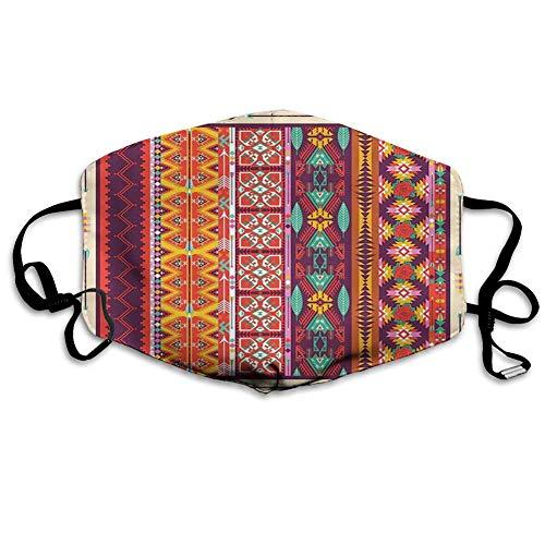Bequeme Winddichte Maske, aztekisches, buntes Muster mit Vogel-Blumen und Pfeilen Maya-Latino-Kulturerbe-Thema, Orange Lila