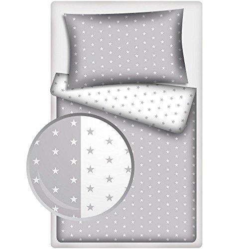 Amilian® 2 tlg. Bettwäsche Baby Bettset Sternchen WEIß+GRAU Größe 100x135 cm (40x60 cm)