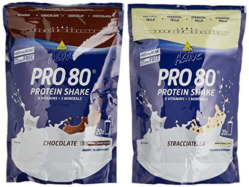 Inkospor Active Proteinshake Pro 80 Beutel 2er Mix Pack (2 x 500 g) Schoko/Stracciatella, 1er Pack (1 x 1 kg)