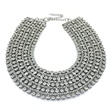 MANILAI Chunky Metal Statement Necklace For Women Neck Bib Collar Choker Necklace Maxi Jewelry (Silver)
