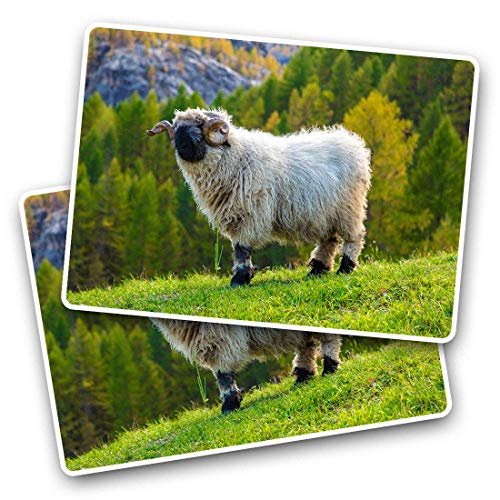 Awesome Rectangle Stickers(Set of 2) 7.5cm - Swiss Alps Valais Blacknose Sheep Fun Decals for Laptops,Tablets,Luggage,Scrap Booking,Fridges,Cool Gift #46345