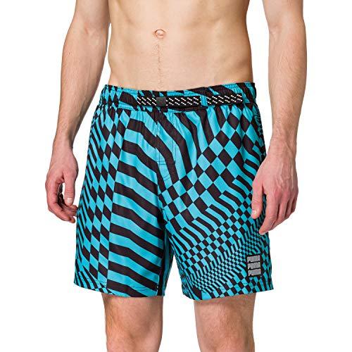 PUMA Swim Men's PsyGeo all-Over-Print Mid Swimming Shorts Trunks, Combo Blu, XL Uomo
