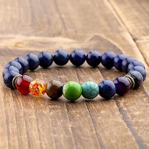 ZXDC 2 uds Piedra de lapislázuli Natural 7 Pulseras y brazaletes de Chakra Yoga Balance Bead Buda oración Pulsera elástica Hombres pulseira-A12,18cm