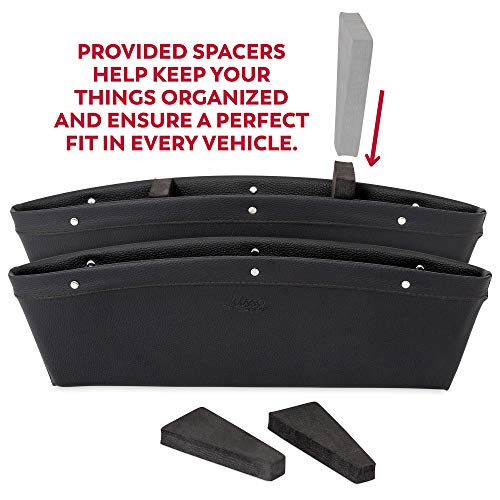 Lusso Gear 2 in 1 Car Seat Gap Organizer - Universal Fit, Storage Pockets Adjust, 2 Set Car Seat Crevice Storage Box, Helps Reduce Distracted Driving