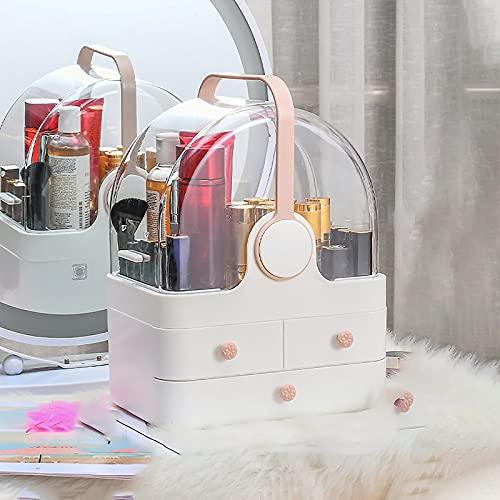 WEIXINMWP Caja de Almacenamiento cosmético Maquillaje Organizador Joyería Caja de Almacenamiento Lápiz Labial Pendiente Pendiente Collar Cajón Transparente Escritorio,Blanco