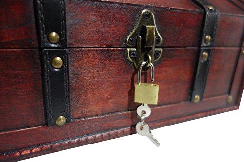 infinimo Schatztruhe – Holztruhe, Piratenkiste, Geschenk-Box verschließbar mit Deckel und Schloss mit Schlüssel, 30x20x15cm große Schatzkiste - 3