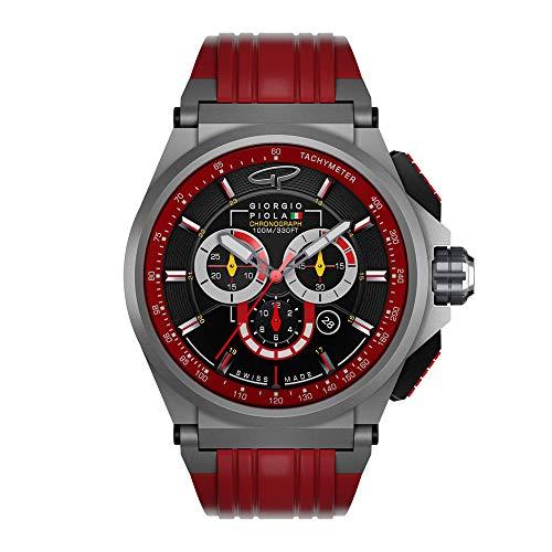 Giorgio Piola Men's Strat-3 Red Sport Chronograph Watch (Matte Titanium)