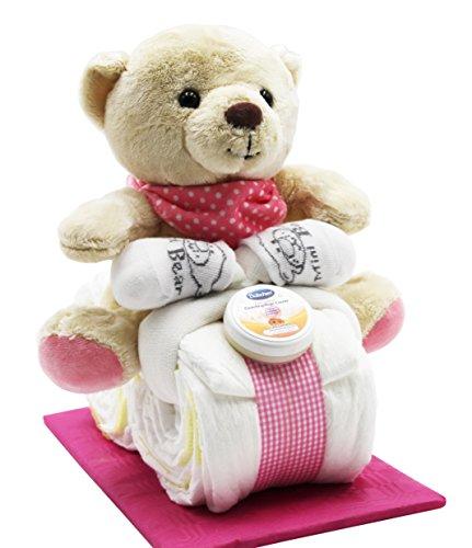 Windeltorte - Windelmotorrad rosa für Mädchen - mit Teddybär + gratis Grußkärtchen