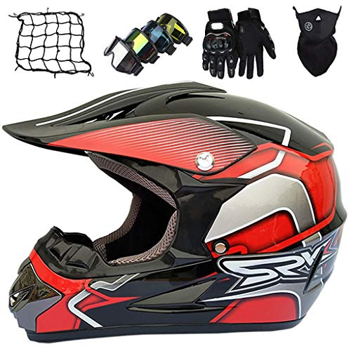 Casco Motocross Niño, MJH-01 Cascos de Cross de Moto con Guantes/Gafas/Máscara/Red de Bungy (5 piezas), Equipo de Proteccion para MX Quad Descenso Enduro Motocicleta, Negro Rojo