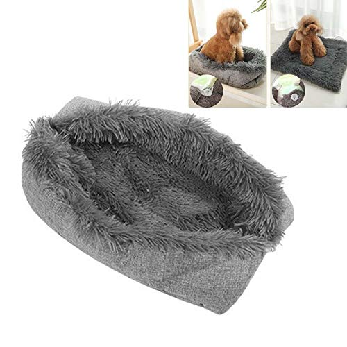 ARSSLY Dog Bed for Cats Double Use Comfortable Warm Nest Puppy Dog Basket Extra Soft Cute Dog Cushion Ultra-Soft Dog Sofa (90 x 100 cm, Dark Gray)