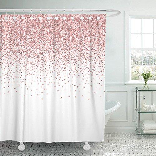 Emvency Duschvorhang, wasserdicht, 182,9 x 182,9 cm, Rot/Pink / goldfarben mit Glitzer aus Herzen, verlaufender Farbverlauf auf auf weißem Valentinstag, Papier, Multi 7, 72x78