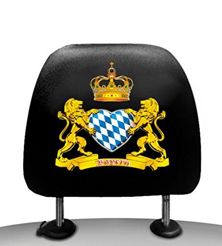 Kopfstützenbezüge Kopfstützenüberzug - 2er Pack - beidseitig bedruckt - Motiv = Bayern mit Herz = Das Original von ITATI (CAT-42905)
