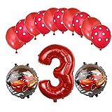 ENXI Globos Mcqueen Ellos 1 Set Autos Lightning 32 Pulgadas Números Balloon Set 13pcs / Set Movilización de automóviles Baby Boy Cumpleaños Fiesta de decoración Suministros ( Color : Ruby )