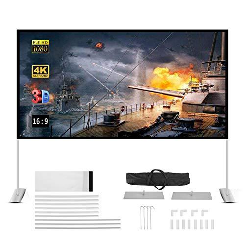 projektion leinwand mit Stand 100 zoll beamer leinwand HD 4K 16: 9 Projector Screen einfache zusammenfaltbare projektionswand,unterstützung doppelseitigen projektion für heimkino und freiluftkino.