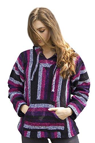 Mexican Baja Hoodie Sweater Sweatshirt Pullover Jerga (Large, Pink/Purple)