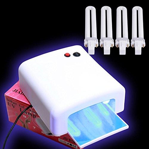 Vishine 36 Watt Lampe UV Pour Vernis à ongles Nail Gel Lampe durcissement sèche- ongles avec 120 secondes chrono + 4 x 9W Ampoules Manucure