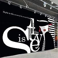 現代のファッション壁紙3D英語の手紙の落書きの写真の壁の壁画の衣料品店黒の背景の壁の装飾, 300cm×210cm