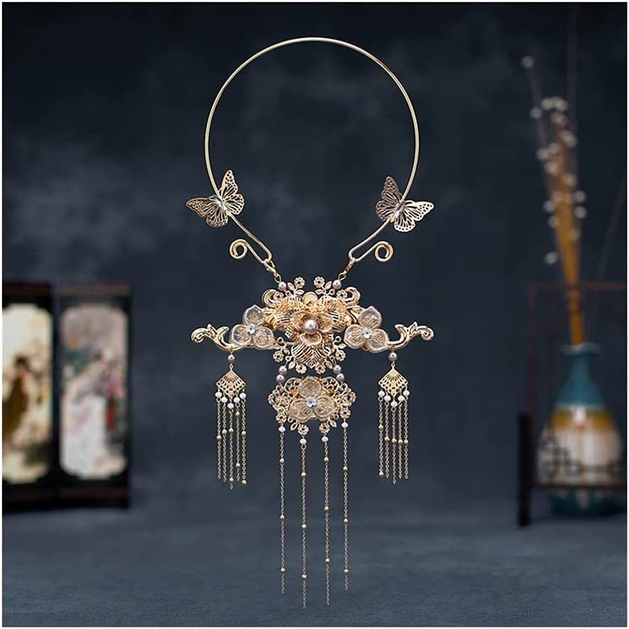WXIANG Fashion Hanfu Accessories Dragon and Phoenix Necklace, Tassel Necklace Collar Valentine's Day Gift (Color : Style B)