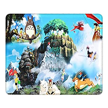 Miyazaki Ghibli Totoro Spirited Away Ponyo Merchandise Anime Poster Figure Mouse Pad Black Durable Waterproof Rubber Leather with Stitched Edge Extended Laptop Computer Gaming Mouse Pads 9.8X11.8 in