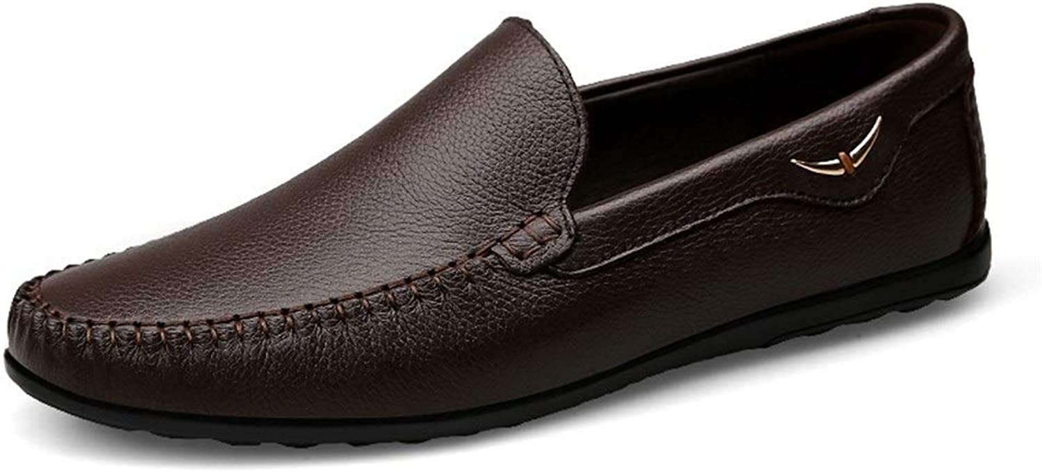 Easy Go Shopping Driving Loafer For Men Boat Moccasins Slip On OX Leather Breathable Hollow out Cricket shoes (color   DarkBrown, Size   7 UK)