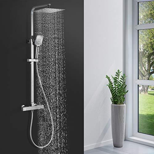 BONADE Duschsystem Thermostat Duscharmatur Quadratisch Duschsäule Duschkopf aus Edelstahl Regendusche Chrom Duschset mit 3 Strahlarten Handbrause Verstellbare Duschstange Brauseschlauch