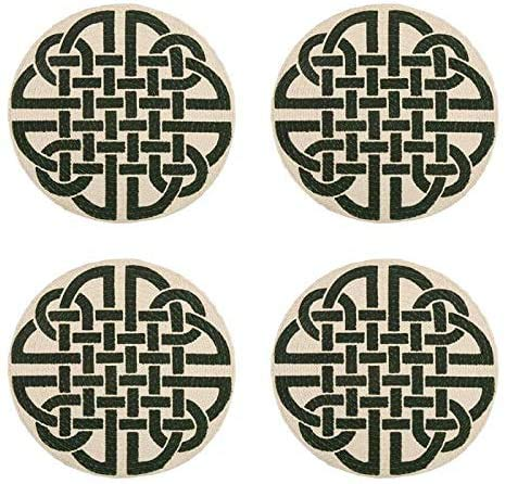 Celtic Classics St. Patrick's Day Green Lattice Celtic Links Round Cotton Placemats, Set of 4