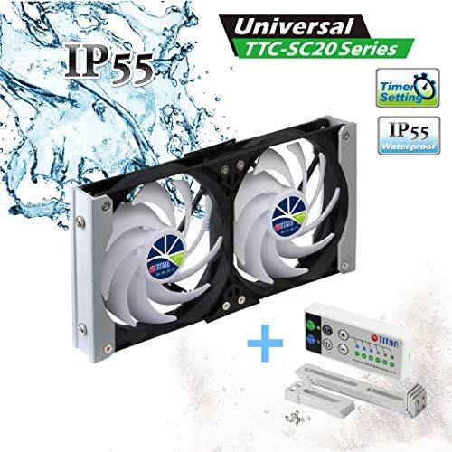 TITAN - Ventilador de enfriamiento de ventilación de Montaje en Bastidor Doble a Prueba de Agua de 12 V CC IP55 y con Temporizador y Controlador de Velocidad (120mm)