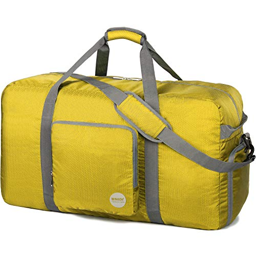Faltbare Reisetasche 60-100L Superleichte Reisetasche für Gepäck Sport Fitness Wasserdichtes Nylon von WANDF (Gelb, 100L)