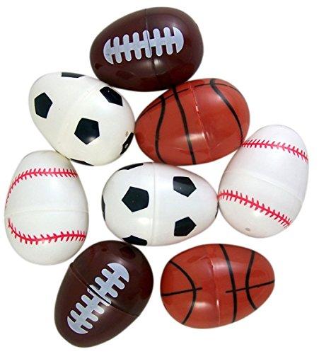 Sports Party Favors, Assorted Baseball Basketball Football Design Plastic Easter Eggs, 3 Packs of 8